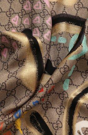 Женский шелковый платок guccighost GUCCI разноцветного цвета, арт. 443421/3G001 | Фото 2