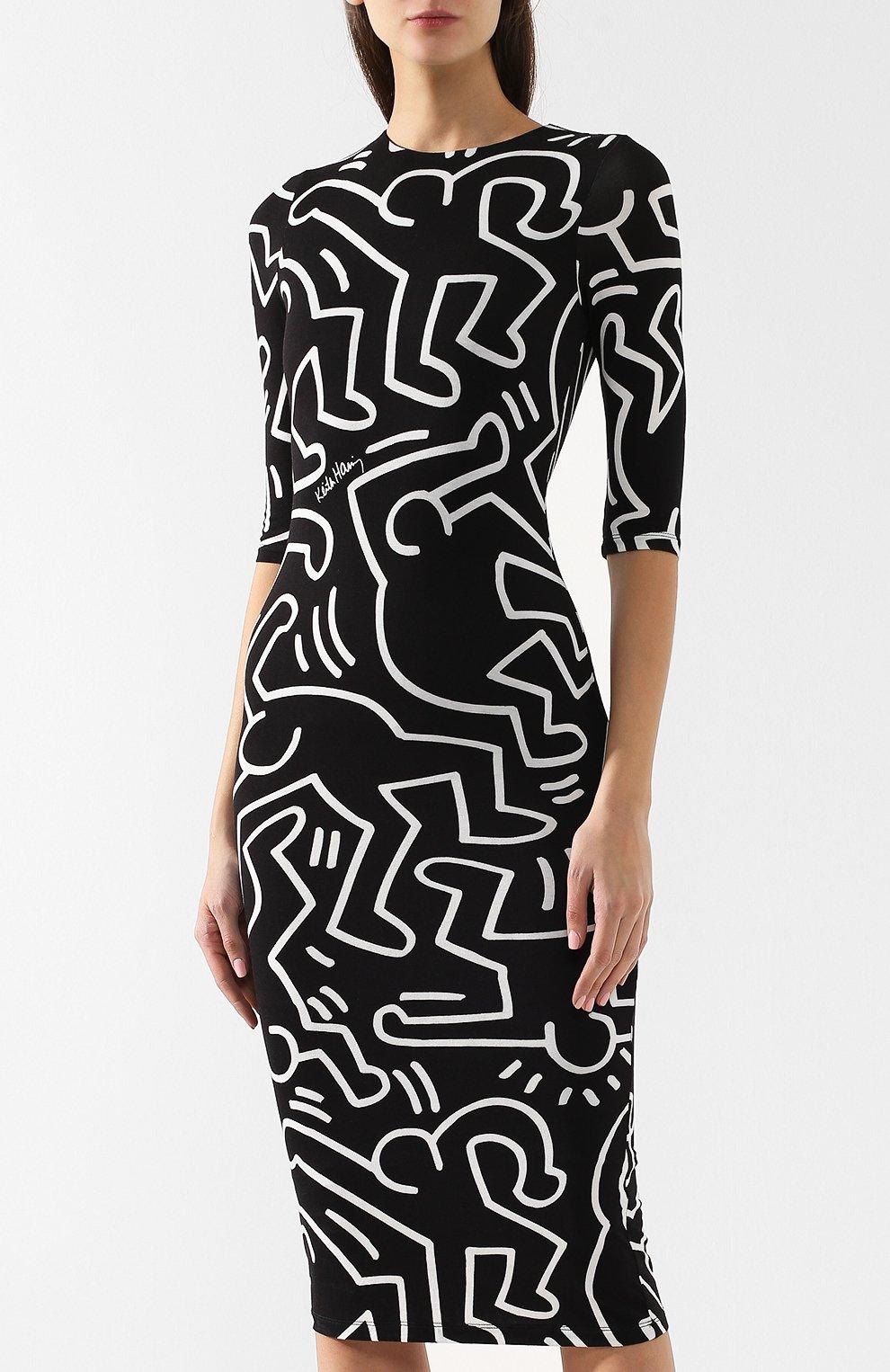 8dc750e9a2c Женское черно-белое платье из вискозы ALICE + OLIVIA — купить за ...