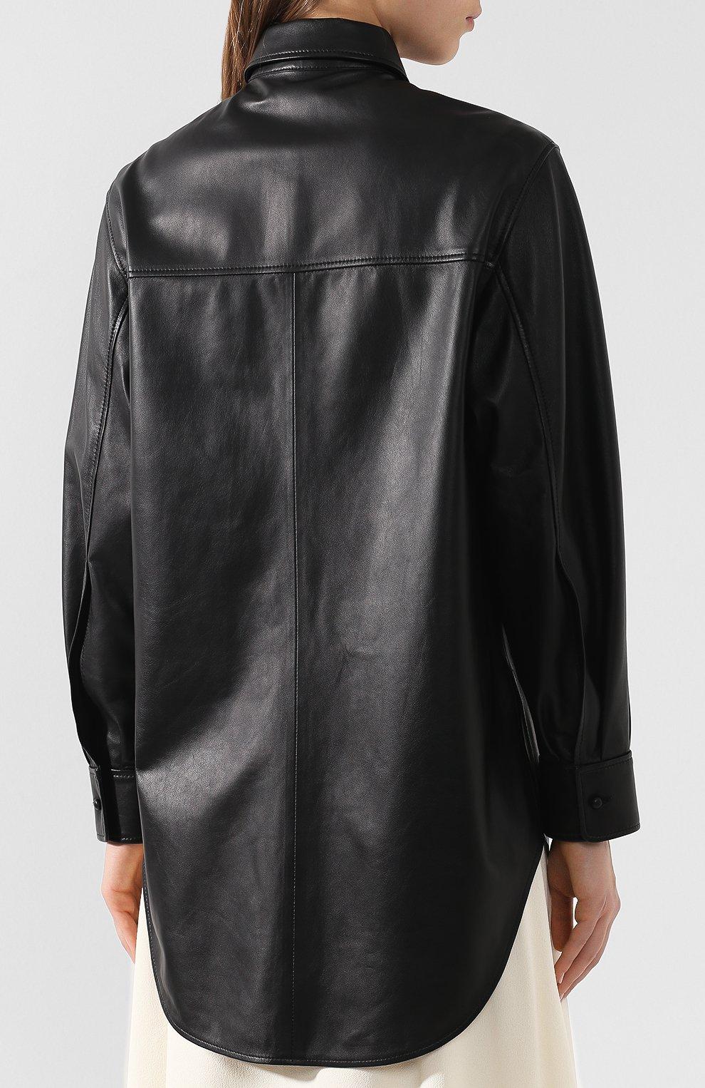 75bc629a95601c6 Женская черная кожаная рубашка JOSEPH — купить за 99500 руб. в ...