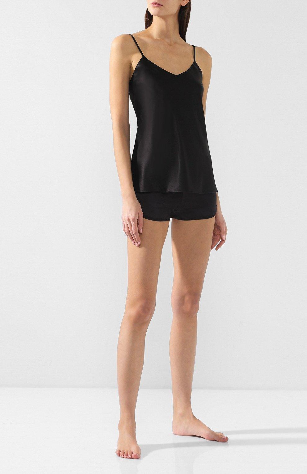 Женские шелковые шорты COTTON CLUB черного цвета, арт. 6ZM | Фото 2 (Материал внешний: Шелк; Длина Ж (юбки, платья, шорты): Мини)