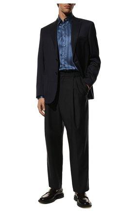 Мужская шелковая сорочка ZILLI синего цвета, арт. MFR-27001-MERCU/RZ01 | Фото 2