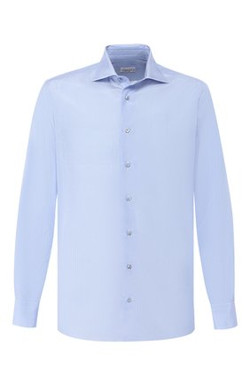 Мужская хлопковая сорочка с воротником кент ZILLI голубого цвета, арт. MFR-84080-MERCU/RZ01 | Фото 1