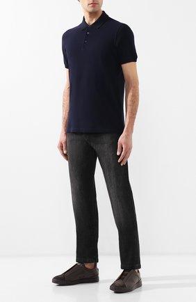 Мужское хлопковое поло BRUNELLO CUCINELLI темно-синего цвета, арт. M0T638307 | Фото 2