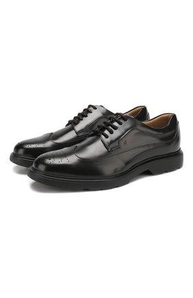Мужские кожаные дерби  HOGAN черного цвета, арт. HXM3930BH706Q6 | Фото 1