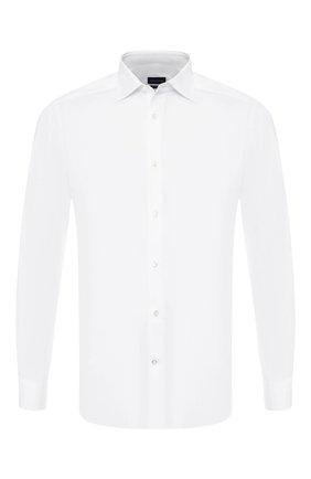 Мужская хлопковая сорочка с воротником кент ERMENEGILDO ZEGNA белого цвета, арт. 501063/9HS0MT | Фото 1