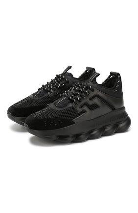 Мужские текстильные кроссовки chain reaction VERSACE черного цвета, арт. DSU7071E/D7CTG | Фото 1
