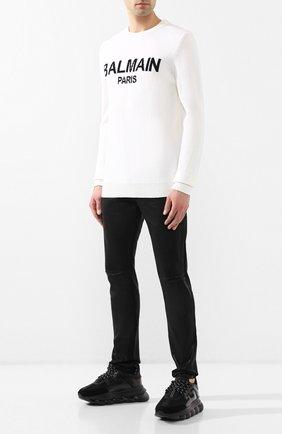 Мужские текстильные кроссовки chain reaction VERSACE черного цвета, арт. DSU7071E/D7CTG | Фото 2
