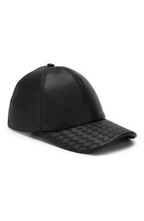 Мужской кожаная бейсболка BOTTEGA VENETA черного цвета, арт. 521538/4V518 | Фото 1