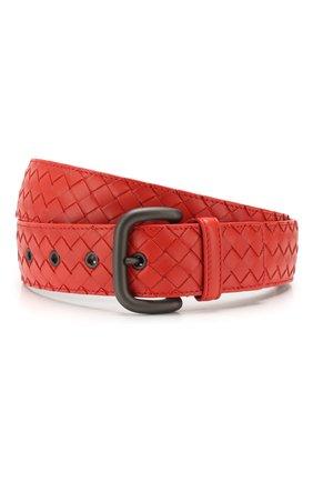 Мужской кожаный ремень BOTTEGA VENETA красного цвета, арт. 173784/V4650 | Фото 1