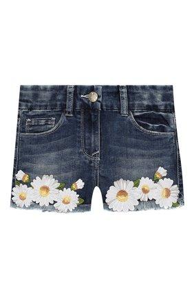 Детские джинсовые шорты MONNALISA синего цвета, арт. 193401R1 | Фото 1