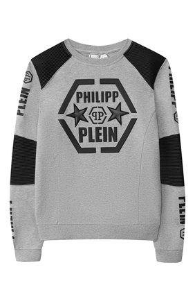 Детский хлопковый свитшот PHILIPP PLEIN серого цвета, арт. S19C BJ00090 PJ0002N/4-10 | Фото 1