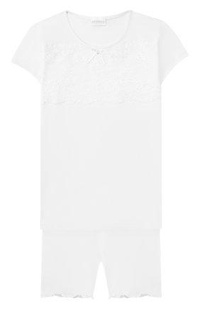 Детская пижама из вискозы LA PERLA белого цвета, арт. 51721/2A-6A | Фото 1