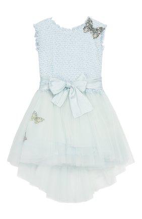 Детское платье с поясом DESIGNERS CAT голубого цвета, арт. 0100KK0KI00015/4A-8A | Фото 1