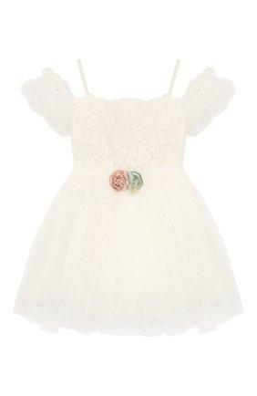 Детское платье на тонких бретельках DESIGNERS CAT бежевого цвета, арт. 100000K01000139/4A-8A | Фото 1