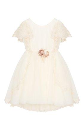 Детское платье с кружевной отделкой DESIGNERS CAT бежевого цвета, арт. 100000K01000140/4A-8A | Фото 1