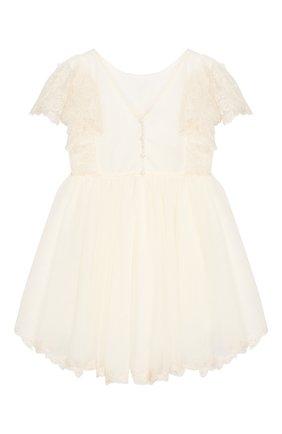 Детское платье с кружевной отделкой DESIGNERS CAT бежевого цвета, арт. 100000K01000140/4A-8A | Фото 2