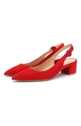 Женская замшевые туфли amee  GIANVITO ROSSI красного цвета, арт. G92590.45RIC.CAMTABS | Фото 1