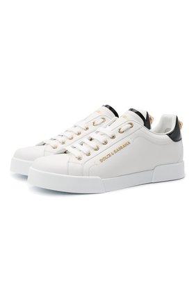Женские кожаные кеды portofino DOLCE & GABBANA белого цвета, арт. CK1602/AH506 | Фото 1 (Статус проверки: Проверена категория; Подошва: Платформа; Материал внутренний: Натуральная кожа)