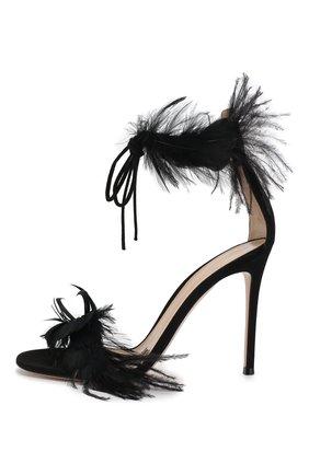 Замшевые босоножки Athena  Gianvito Rossi черные | Фото №3