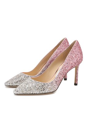 Женская туфли romy 85 с глиттером JIMMY CHOO розового цвета, арт. R0MY 85/V0G | Фото 1