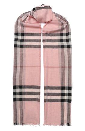 Мужские шарф в клетку из смеси шелка и шерсти BURBERRY светло-розового цвета, арт. 4001363 | Фото 1
