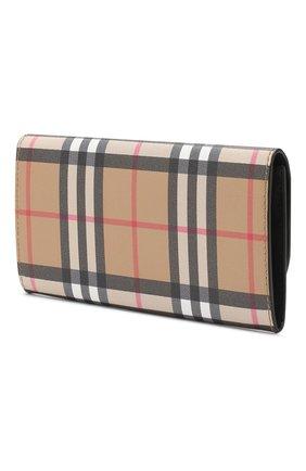 Женские кожаный кошелек BURBERRY бежевого цвета, арт. 8005385   Фото 2