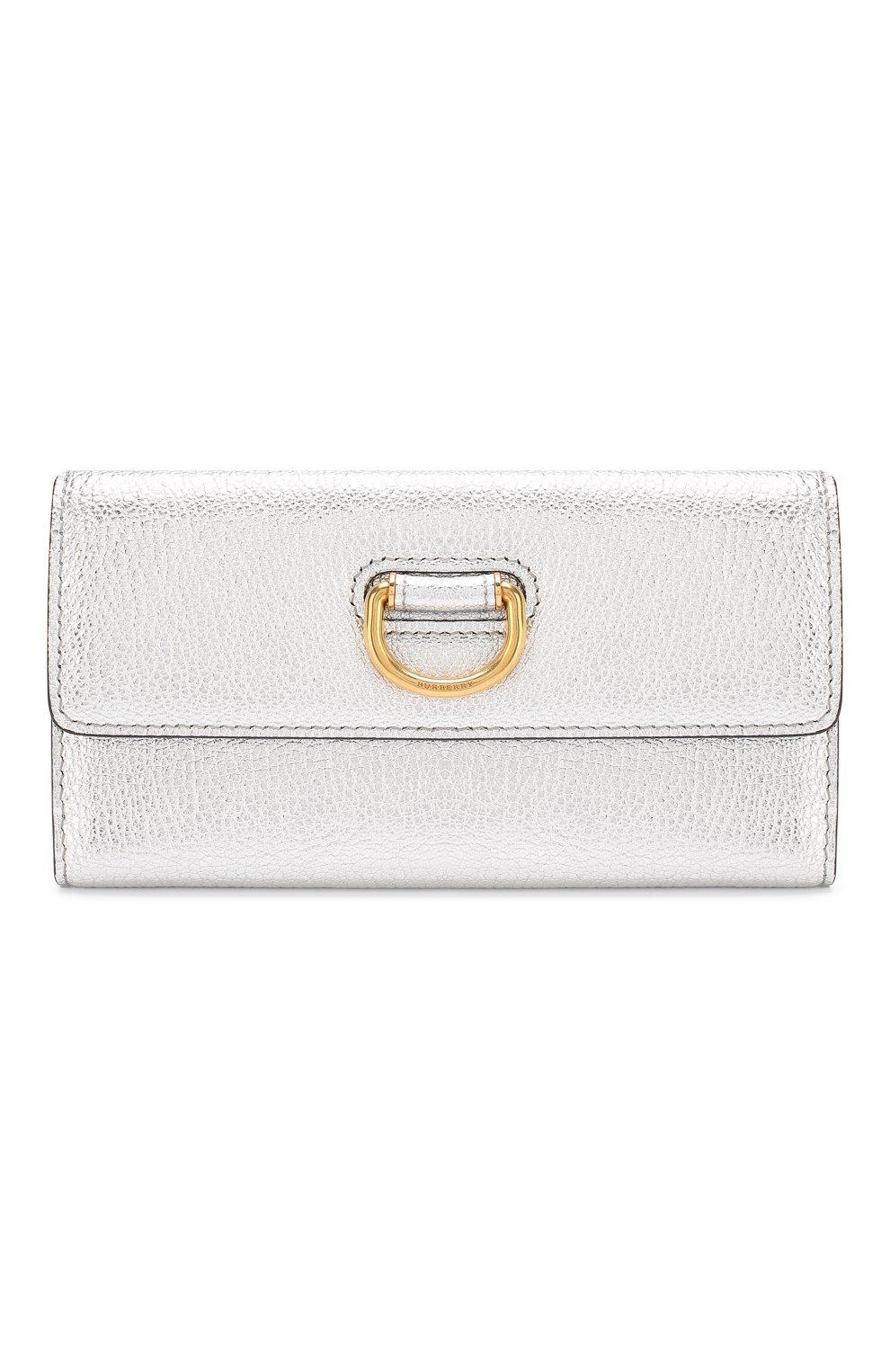 Кожаный кошелек Burberry серебряного цвета | Фото №1