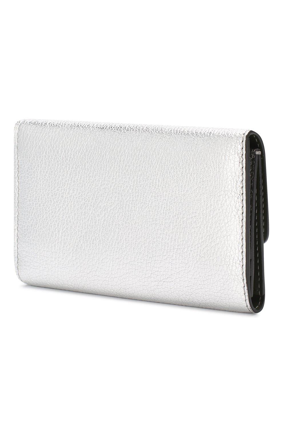 Кожаный кошелек Burberry серебряного цвета | Фото №2