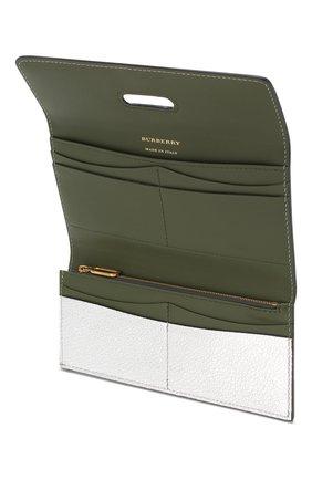 Кожаный кошелек Burberry серебряного цвета | Фото №3