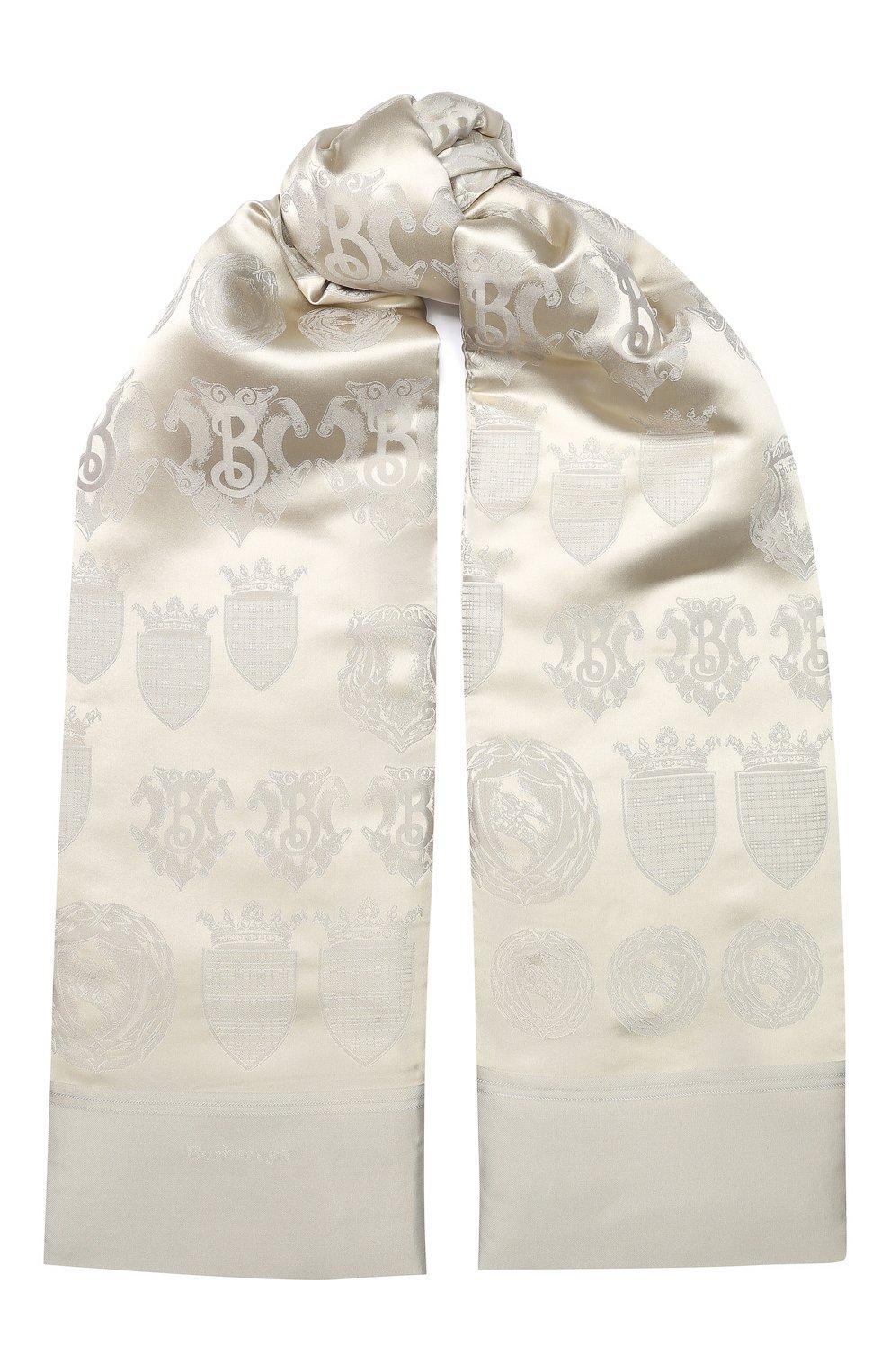 Шелковый шарф Burberry светло-серый | Фото №1