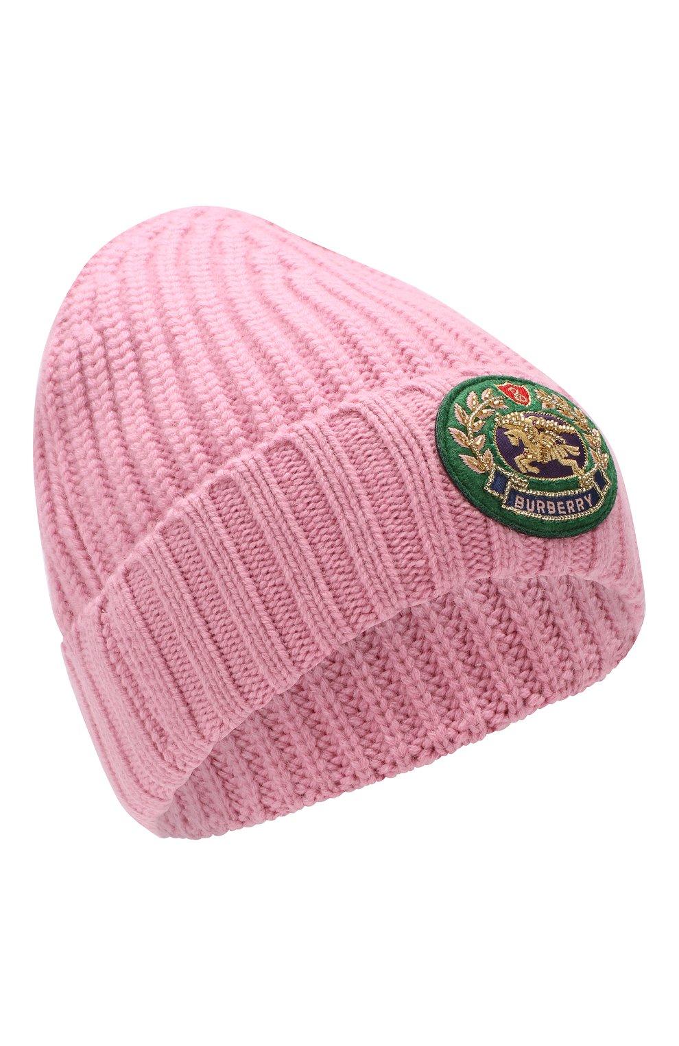 Шапка из смеси шерсти и кашемира Burberry розового цвета | Фото №1