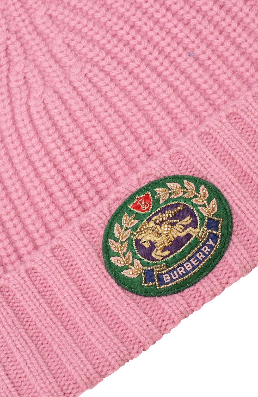 Шапка из смеси шерсти и кашемира Burberry розового цвета | Фото №3