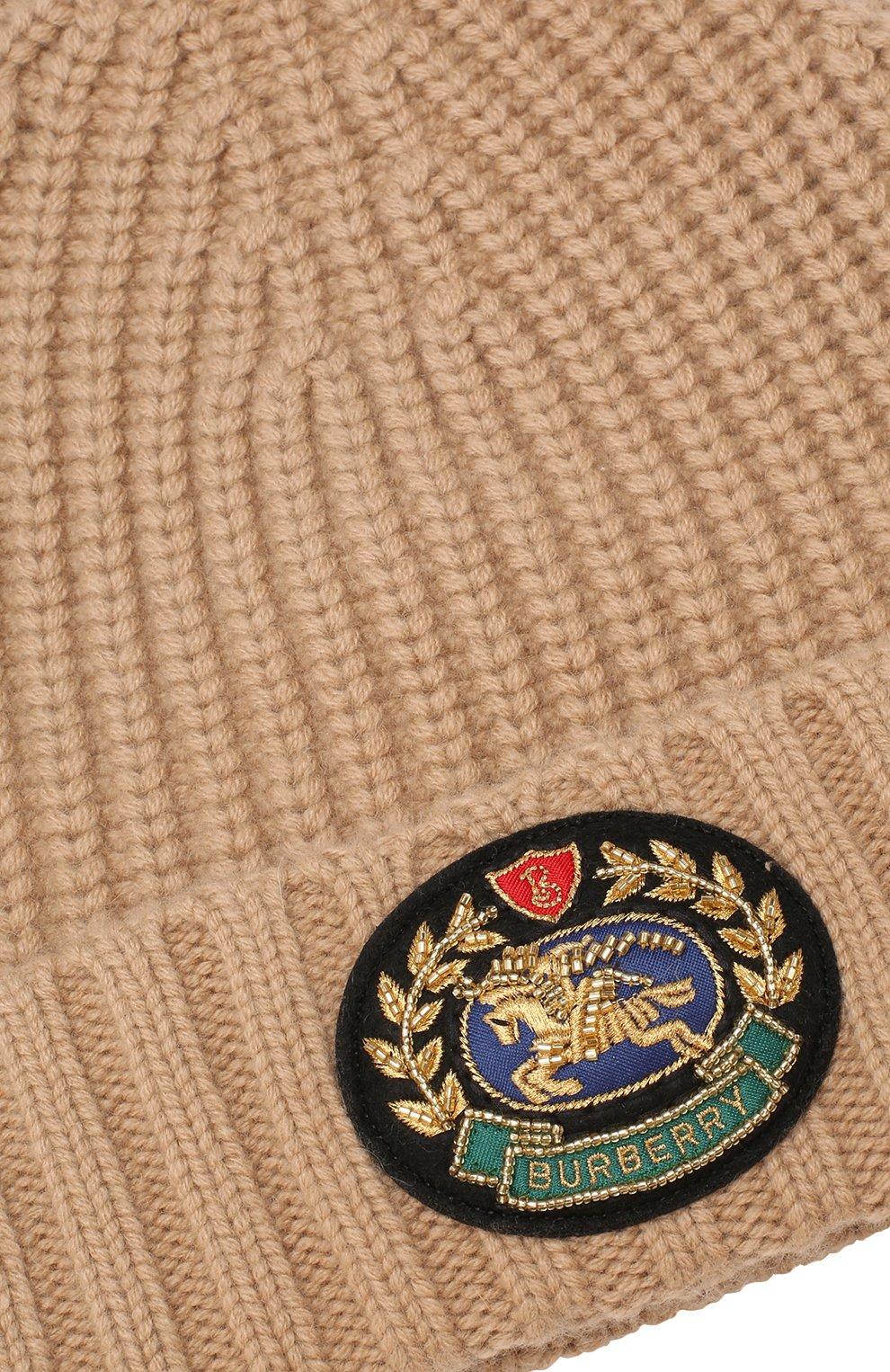 Шапка из смеси шерсти и кашемира Burberry бежевого цвета   Фото №3