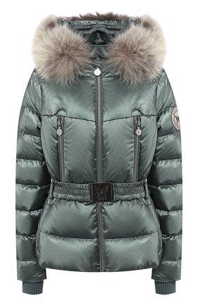 Пуховая куртка с поясом и капюшоном | Фото №1