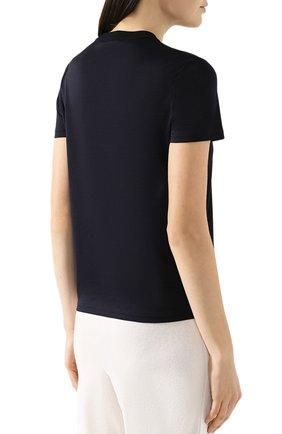 Женская хлопковая футболка LORO PIANA темно-синего цвета, арт. FAI5069 | Фото 4 (Принт: Без принта; Рукава: Короткие; Длина (для топов): Стандартные; Материал внешний: Хлопок; Стили: Классический, Минимализм, Кэжуэл; Женское Кросс-КТ: Футболка-одежда; Статус проверки: Проверена категория)