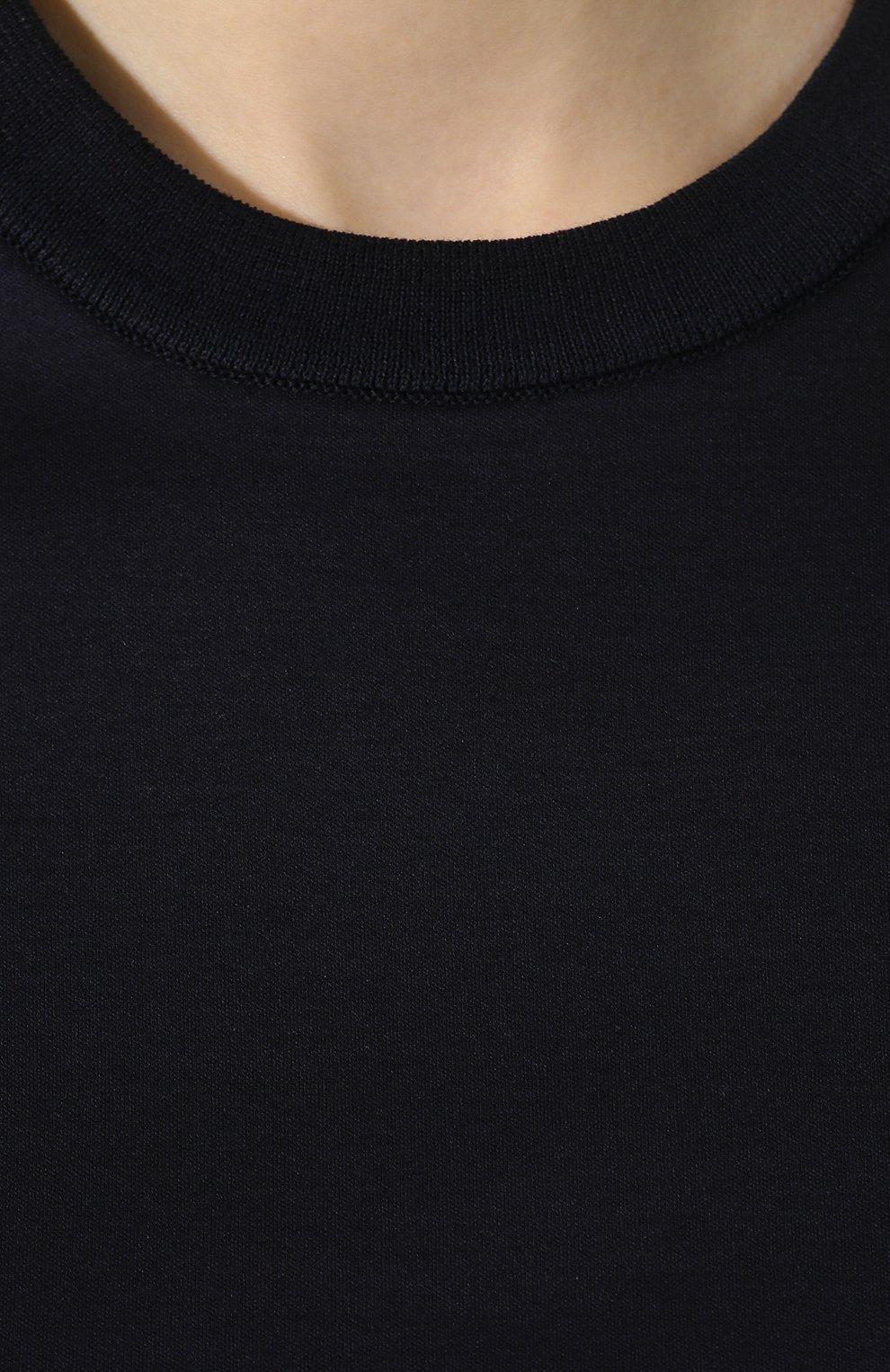 Женская хлопковая футболка LORO PIANA темно-синего цвета, арт. FAI5069 | Фото 5 (Принт: Без принта; Рукава: Короткие; Длина (для топов): Стандартные; Материал внешний: Хлопок; Стили: Классический, Минимализм, Кэжуэл; Женское Кросс-КТ: Футболка-одежда; Статус проверки: Проверена категория)