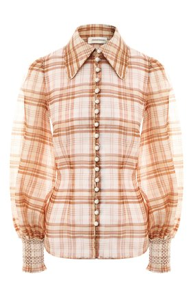 Блузка из смеси шелка и льна   Фото №1