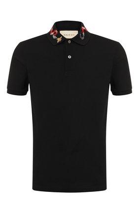 Мужское хлопковое поло  GUCCI черного цвета, арт. 408323/X7332 | Фото 1