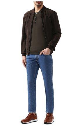 Мужское поло из смеси шерсти и кашемира BRIONI хаки цвета, арт. UMR30X/0ZK16 | Фото 2