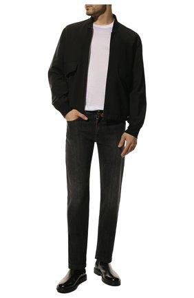 Мужские джинсы прямого кроя KITON черного цвета, арт. UPNJS1/J07R53 | Фото 2