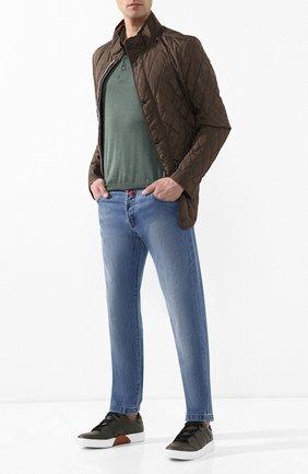 Мужские джинсы прямого кроя KITON голубого цвета, арт. UPNJS/J07R50 | Фото 2