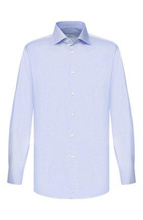 Мужская хлопковая сорочка BRIONI синего цвета, арт. RCLU1Y/P7003 | Фото 1 (Материал внешний: Хлопок; Рукава: Длинные; Длина (для топов): Стандартные; Статус проверки: Проверено; Случай: Формальный)