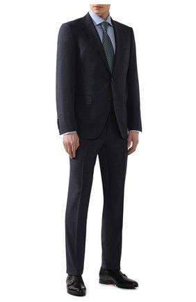 Мужская хлопковая сорочка BRIONI синего цвета, арт. RCLU1Y/P7003 | Фото 2 (Материал внешний: Хлопок; Рукава: Длинные; Длина (для топов): Стандартные; Статус проверки: Проверено; Случай: Формальный)