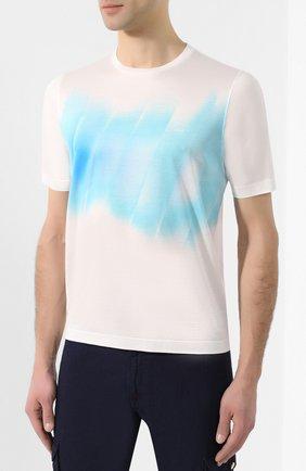 Мужская хлопковая футболка  ZILLI белого цвета, арт. MER-NT220-SHAD1/MC01   Фото 2