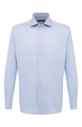 Мужская хлопковая сорочка с воротником кент CORNELIANI голубого цвета, арт. 83P150-9111211/00 | Фото 1