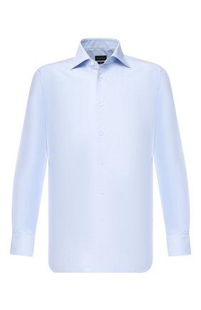 Мужская хлопковая сорочка с воротником кент ERMENEGILDO ZEGNA голубого цвета, арт. 501030/9RS0GS | Фото 1