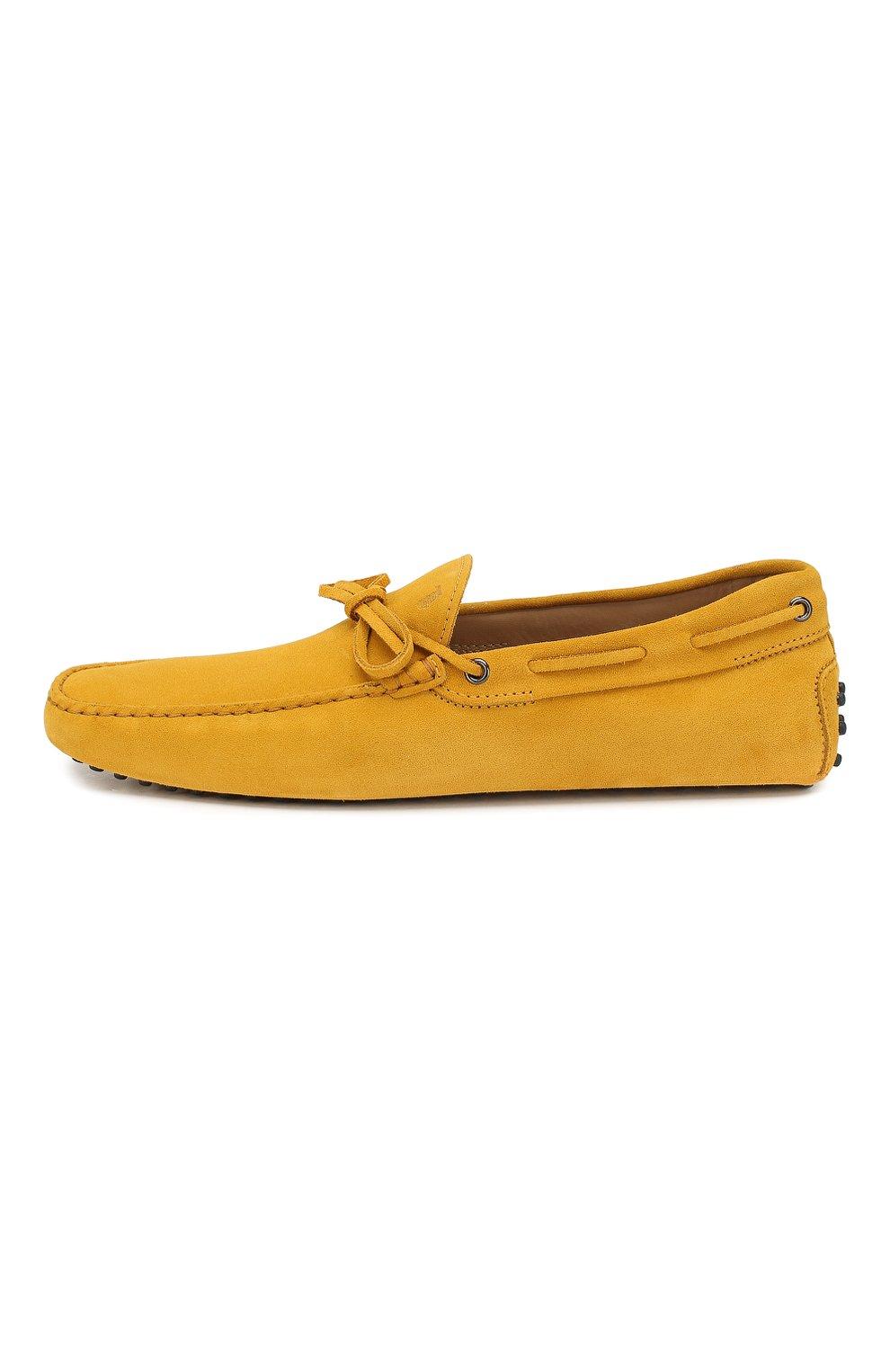 Замшевые мокасины Gommino Driver Tod's желтые | Фото №3