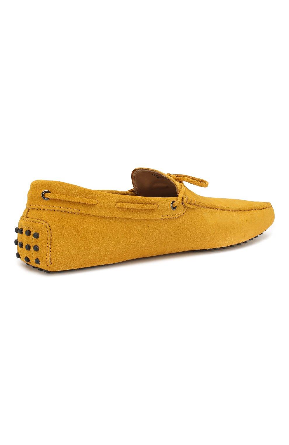 Замшевые мокасины Gommino Driver Tod's желтые | Фото №4
