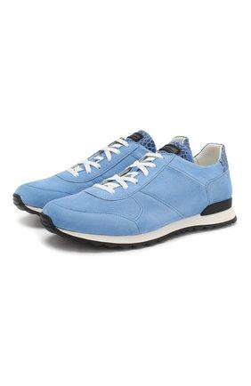 Мужские замшевые кроссовки с отделкой из кожи крокодила KITON голубого цвета, арт. USSB0RIN00024 | Фото 1