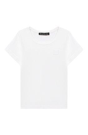 Детская хлопковая футболка ACNE STUDIOS белого цвета, арт. 2NH173 | Фото 1